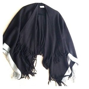 RD Style black and grey shawl with fringe